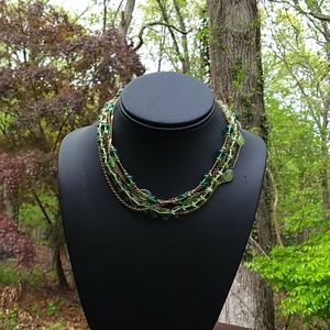 RARE MONET 6Layer Peridot & Emerald Glass Bead Bib